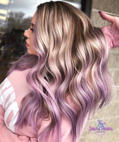 Lilac Ombré - @pulpriothair the paint (Lilac, Nevermore with a dot of Jam) #faction8 @bioionic the curl @oliviagardenint the tools 🛠…