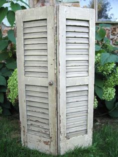 Antique Wood Shutters Architectural Salvage Vintage by PoemHouse, $58.00 Old Shutters, Architectural Salvage, How To Antique Wood, Vintage Decor, Tall Cabinet Storage, Crafty, Architecture, Antiques, Furniture