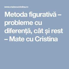 Metoda figurativă – probleme cu diferență, cât și rest – Mate cu Cristina