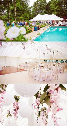 Pretty marquee wedding with paper lanterns hanging alongside elegant sprays of flowers Marquee Wedding, Tent Wedding, Wedding Planning, Wedding Ideas, Paper Lanterns, Parties, Table Decorations, Elegant, Flowers
