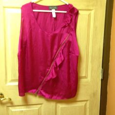 Baby phat 2x blouse. Hot pink zipper side by baby phat size 2x Baby Phat Tops Blouses