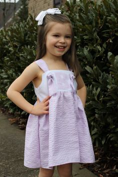 So sweet for an Easter Dress!  Seersucker Initial Knot Dress by Goat & Lulu on Etsy