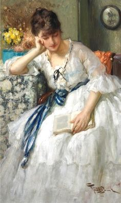 ✉ Biblio Beauties ✉ paintings of women reading letters and books - Fernand Toussaint