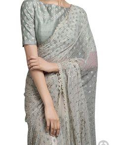 Buy Ivory beige saree with light green blouse by SVA Sonam and Paras Modi at Aza Fashions Tesettür Tunik Modelleri 2020 Trendy Sarees, Stylish Sarees, Fancy Sarees, Saree Blouse Neck Designs, Saree Blouse Patterns, Net Saree Designs, Net Saree Blouse, Lace Saree, Indian Dresses