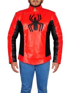 SPIDER MAN LAST STAND LEATHER JACKET Hero Spiderman, Last Stand, Motorcycle Jacket, Black Leather, Celebs, Men's Jackets, Leather Jackets, Sleeves, Craft