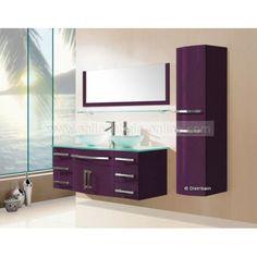 meuble salle de bain coloris prune rf sdg967pr - Meuble Salle De Bain Prune