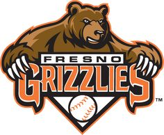 Fresno Grizzlies Primary Logo (2008) - Grizzly bear above team script and a baseball