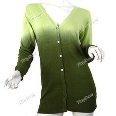 Long Style Discolored Gardigan Knitwear Knitted Sweater Knitting Shirt w Long Sleeves f Girl Woman NDD-52645