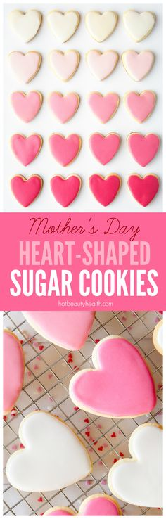 Looking for Mother's Day cookie recipe ideas? These Heart-Shaped Sugar Cookies with white and pink pastel royal icing are so simple and delicious to make. Try making this as a Mother's Day gift. (Click here for the recipe!)