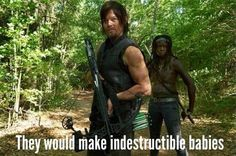 Michonne and Daryl -But Carol might just be more kick ass than Michonne now!!