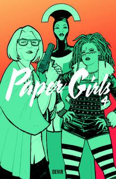 Paper Girls - Volume 4 de Brian K. Vaughan e ilustração por Cliff Chiang. Lançamento banda desenhada por Devir Portugal em português, julho 2020...