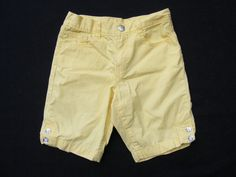 GYMBOREE Bermuda Shorts, Yellow Solid Plain Gem Buttons, 100% Cotton, Size 8 #Gymboree