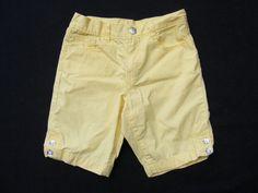GYMBOREE Bermuda Shorts, Yellow Solid Plain Gem Buttons, 100% Cotton, Size 8 #Gymboree
