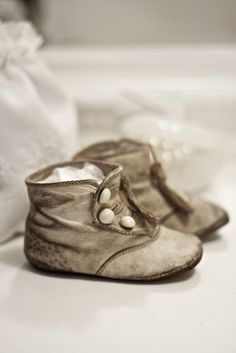 Vintage Small white sneakers Baby boots  Home Decor doll Shoes
