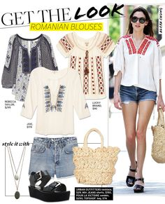 (minus the shoes) Get The Look: Romanian Blouses - Celebrity Style and Fashion from WhoWhatWear. Gypsy Culture, Topshop Bags, Bohemian Blouses, Peasant Blouse, Tunic, Facon, Who What Wear, Traditional Outfits, Latest Fashion Trends