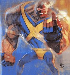 1994 X-Men Ultra Collection Card: Strong Guy - Bill Sienkiewicz Marvel Comic Character, Comic Book Characters, Marvel Characters, Character Art, Comic Books, Marvel Comics, Marvel Heroes, Gi Joe, Strong Guy