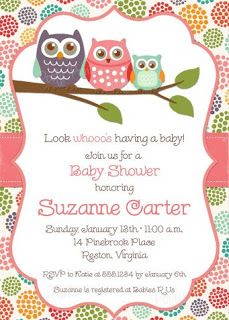 Owl baby shower invitation owl first birthday baby girl shower