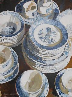 Blue and White Cups and Plate by Laura Lacambra Shubert