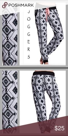 🚫SOLD🚫Soft Tribal Joggers Gray & Black Med sold Butter soft banded gray & black tribal joggers. Here is your new favorite pair of joggers to lounge around in all year long. 97% Polyester - 3% spandex-new from maker without tags-feels like soft flannel & has some stretch) LOVE👟👟👟👟👟👟.                      S = 3/5 M= 7/9 Flawless Pants Track Pants & Joggers