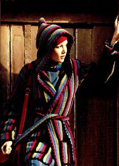Vintage 70s Crochet HOODED Coat / Jacket & CAP  by KinsieWoolShop, $3.20