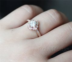 14K Rose Gold Floral Sharp Moissanite Engagement Ring VS 5mm Cushion Cut Moissanite Ring Half Eternity Pave Diamonds Stackable