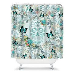 Sugar Skull Shower Curtain Turquoise Bloom Unique decor for your bathroom Made of x softened polyester, your fabric shower curtain comes ready to hang with twelve stitch-enforced eyelets (shower hooks not included). Sugar Skull Shower Curtain, Get Funky, Sugar Skull Design, Skull Decor, Sugar Skulls, Custom Homes, Decorative Items, Etsy Seller, Suga Suga