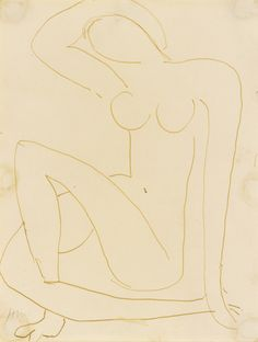 Henri Matisse 1869 - 1954 NU ASSIS, LE BRAS DERRIÈRE LA TÊTE Estimate: 40,000 - 60,000 USD Signed with the initials HM. (lower left) Pen and ink on paper 10 1/2 by 8 in. 26.7 by 20.3 cm. Executed circa 1953.