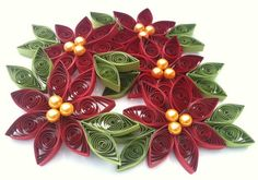 Paper Quilled Poinsettia Christmas Ornament