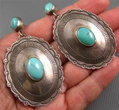 Large Old Pawn Hand Made Navajo Sterling Turquoise Concho Earrings 20 Grams