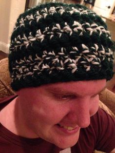 Lion brand yard thick and quick green and white hat for the husband!  So easy!
