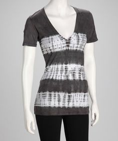 Take a look at this Gray Tie-Dye V-Neck Top by Basement Apparel on #zulily today!