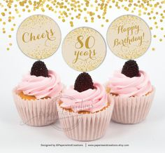 Cupcake Toppers 80th Birthday  Cheers to 80 by PaperieAndCreations