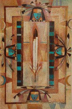 "- Original Painting on Canvas ""Four Directions"" by Navajo artist Tony Abeyta Native American Paintings, Native American Crafts, Native American Artists, American Indian Art, Southwest Quilts, Southwestern Art, Navajo Art, Native Art, Nativity"