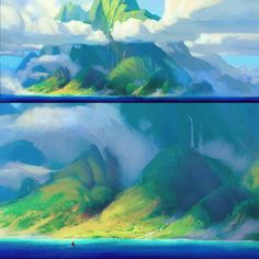 Art of Moana (part Landscape Concept, Fantasy Landscape, Landscape Art, Landscape Paintings, Landscapes, Moana Background, Animation Background, Art Background, Moana Concept Art