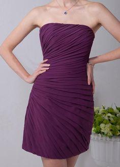 Simple cocktail dress strapless chiffon plisée Slim