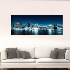 Manhattan at night πανοραμικός πίνακας σε καμβά Flat Screen, Night, Flat Screen Display, Flatscreen, Dish Display