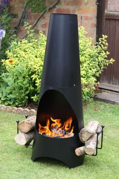 Garden chimenea with integrated log holder. This chimenea is made of steel with an enamel coating. It has an attached log holder to make life easier when having a fire. An ultra modern design garden fireplace ideal for keeping the whole family toasty when outdoors. We recommend covering when not in use and keeping indoors during adverse weather. Logs not included.