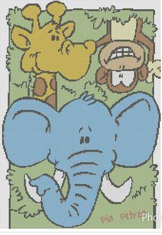 Giraf, abe og elefant