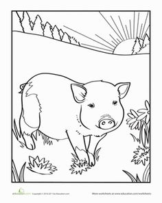 Piglet Coloring Page Worksheet