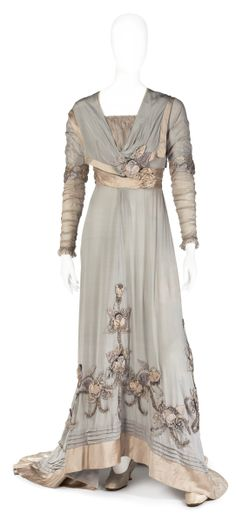 Dress: ca. 1900-1910, silk chiffon, silk.