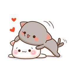 Cute Couple Cartoon, Cute Cartoon Pictures, Cute Love Cartoons, Cute Anime Cat, Cute Cat Gif, Cute Bear Drawings, Cute Kawaii Drawings, Cute Love Pictures, Cute Love Gif