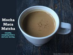 This Mocha Maca Matcha recipe is packed with healthy super foods for a delicious energizing morning drink. Great for winter when a smoothie won't do.