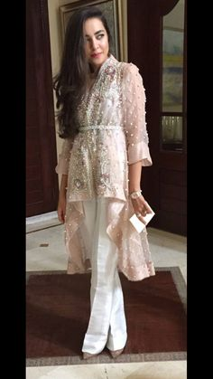 Organza Jacket -Pastel Pink Layered Jacket with Belt & Ivory Silk Bell Bottom Trouser – Hijab Fashion 2020 Pakistani Couture, Pakistani Outfits, Indian Outfits, Dress Indian Style, Indian Dresses, Hijab Fashion, Fashion Dresses, Party Wear, Party Dress