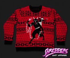 Krampus Knit Christmas Devil Sweater from Shredders Knit Apparel. I wish I could afford this! Christmas Jumpers, Christmas Shirts, Ugly Christmas Sweater, Holiday Sweaters, Ugly Sweater, Christmas Stuff, Christmas Time, Christmas Ideas, Flannels