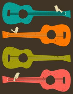 Poster | BIRDS ON A GUITAR STRING von Jazzberry Blue | more posters at http://moreposter.de