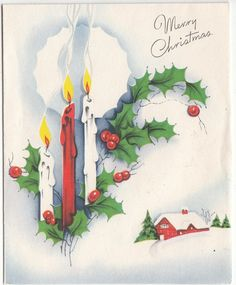 Vintage Christmas Candles and Holly Greeting Card