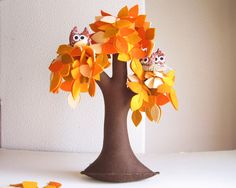 Orange Weeping willow with a family of owls - Felt Tree great to make one of these for each season