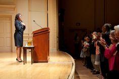 "Webcast: ""Inaugural Reading of Poet Laureate Natasha Trethewey,"" Sept. 13, 2012. Photo by Abby Brack shows Natasha Trethewey immediately following her reading."
