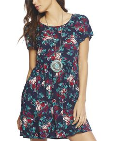 """Loving this super cute dress with a babydoll construction, floral bouquet printed woven body, ruched waist, short sleeves, scoop neck, over-sized fit, and a back hidden zipper closure.  Model is 5'9"""" and wears a size small.   100% Rayon Machine Wash Imported"""