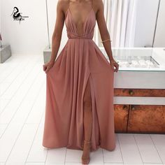 Summer Maxi Dress Women Solid Sexy Deep V-Neck Sleeveless Spaghetti Strap Backless High Split Long Sundress Vestidos Size S Color pink Prom Dresses Long Pink, Sexy Dresses, Evening Dresses, Fashion Dresses, Formal Dresses, 90s Fashion, Party Dresses, Beach Fashion, Sleeveless Dresses